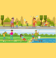 summer leisure activity horizontal banners vector image