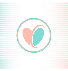 two halves of the heart logotype pink and blue vector image vector image