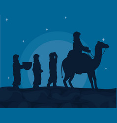 arabs with camels vector image