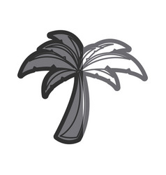 gray thick contour of palm tree vector image
