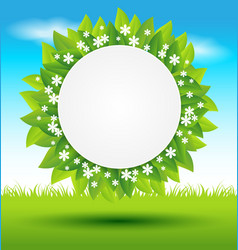 Leaves frame with white flowers on green vector