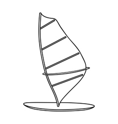Windsurf board icon in outline style isolated on vector image