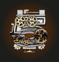 5 letter with gears vector