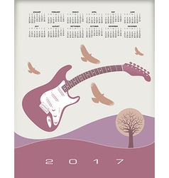A 2017 calendar with a guitar theme vector image