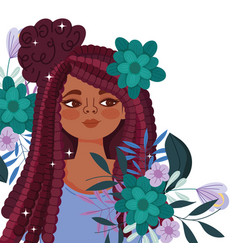 afro american woman cartoon with flowers vector image