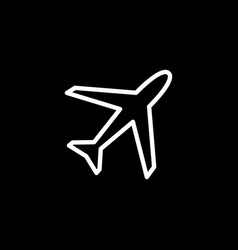 airplane line icon on black background black flat vector image