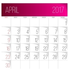 April 2017 calendar template vector image
