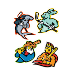 Baseball and ice hockey team mascots collection vector