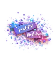 Blue ribbon with Happy birthday title vector