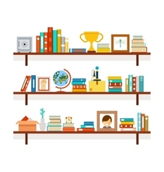 Bookshelves with books and cactus in pot vector