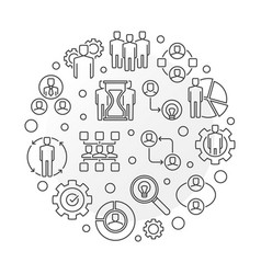 Business partnerships round outline vector