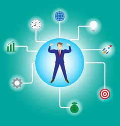 businessman connecting to business icons vector image