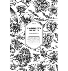 Card design with black and white anemone lavender vector