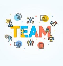 Cartoon team concept card poster vector