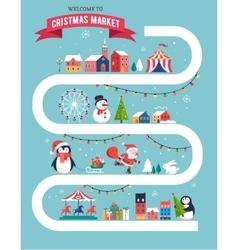 Christmas village Christmas market Xmas fair vector