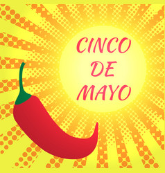 cinco de mayo pop art style glowing yellow vector image