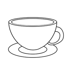 coffee cup cappuccino plate thin line vector image