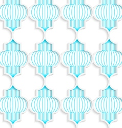 Colored 3D blue vertical Chinese lanterns vector image