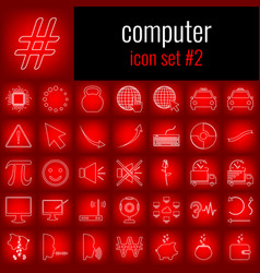 Computer icon set 2 white line icon on red vector