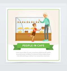 confectionery shop with visitors people in cafe vector image