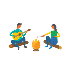 Couple near bonfire singing songs and cooking food vector