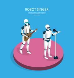 creative robots isometric background vector image