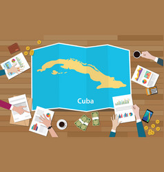 cuba economy country growth nation team discuss vector image