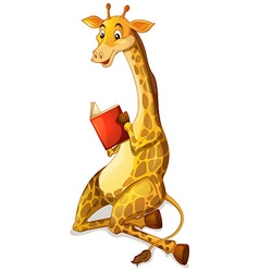 Cute giraffe reading book vector