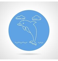 Dolphin blue round icon vector