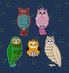 doodle boho style hand drawing cartoon cute owls vector image