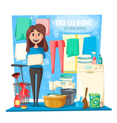Dry cleaning housewife and household tools vector