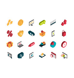 Ecommerce business internet icons set isometric vector
