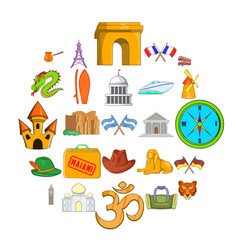 Excursion trip icons set cartoon style vector