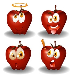 Facial expression on apples vector
