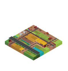 Farm rural buildings isometric vector