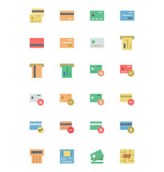 Flat Card Payment Icons 1 vector