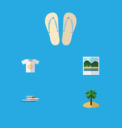 Flat icon beach set of boat reminders coconut vector