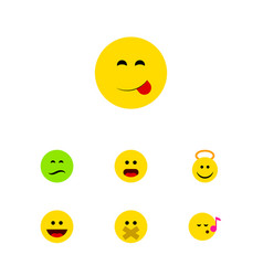 Flat icon face set of descant wonder frown and vector