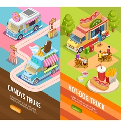 Food trucks 2 vertical isometric banners vector