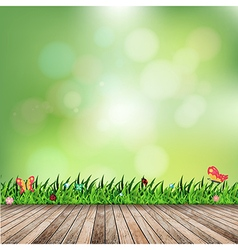 Fresh spring green grass with green bokeh vector