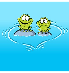 Frogs In Love sitting on a stone in water with vector image