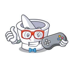 Gamer mortar mascot cartoon style vector