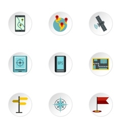 GPS map icons set flat style vector