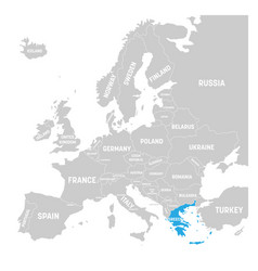 Greece marked by blue in grey political map of vector
