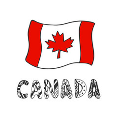 hand drawn sketch of flag canada with doodle vector image