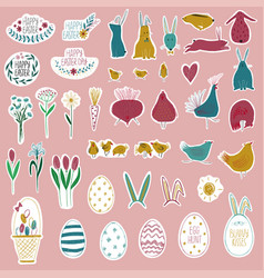 happy easter collection with funny stickers vector image