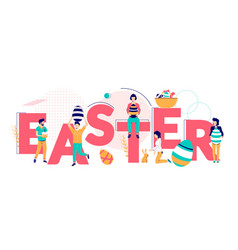 happy easter typography banner template vector image