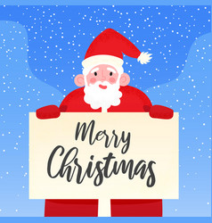 Happy santa claus holding signboard with merry vector