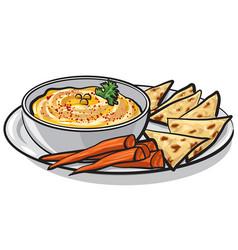 humus with pita vector image
