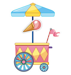 Ice cream car with wheels and umbrella vector